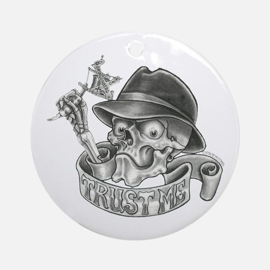 Wicked Skull with Tattoo Machine Ornament (Round)
