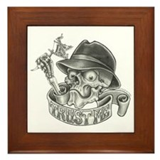 Wicked Skull with Tattoo Machine Framed Tile