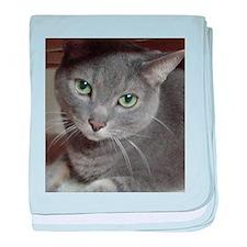 Russian Blue Gray Cat baby blanket