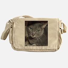 Russian Blue Gray Cat Messenger Bag