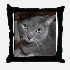 Gray Cat Russian Blue Throw Pillow