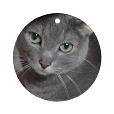 Gray Cat Russian Blue Ornament (Round)