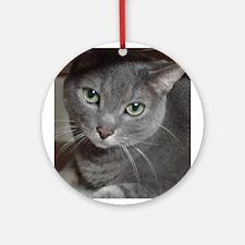 Gray Cat Russian Blue Ornament (Round)