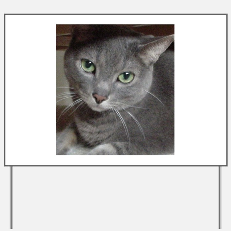 Gray Cat Russian Blue Yard Sign