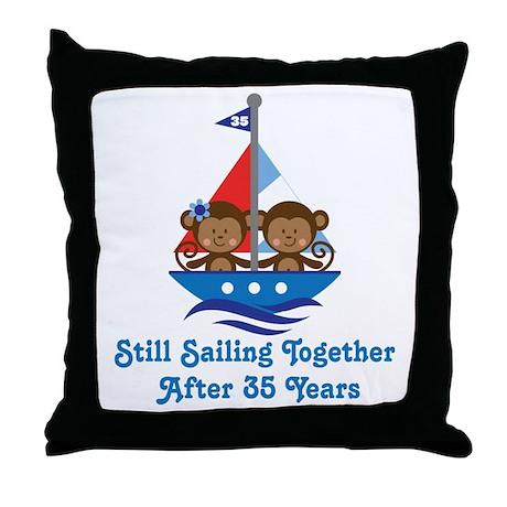 35th Anniversary Sailing Throw Pillow