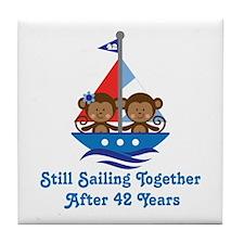 42nd Anniversary Sailing Tile Coaster