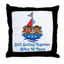 42nd Anniversary Sailing Throw Pillow