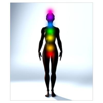Chakra energy points, computer artwork Poster