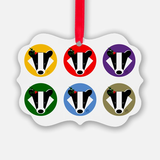 Christmas Badger Face Ornament