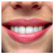 Close-up of a woman's mouth showing healthy teeth Poster