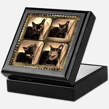 Box cat, sepia x 4 Keepsake Box