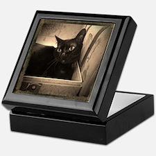 Box Cat, sepia 1 Keepsake Box