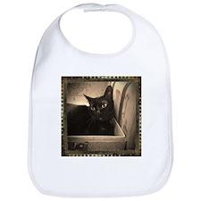 Box Cat, sepia 1 Bib