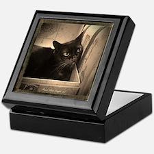 Box Cat, sepia 2 Keepsake Box