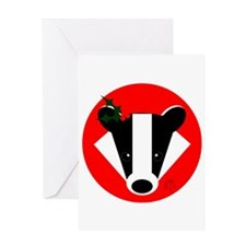 Christmas Badger Face Greeting Card