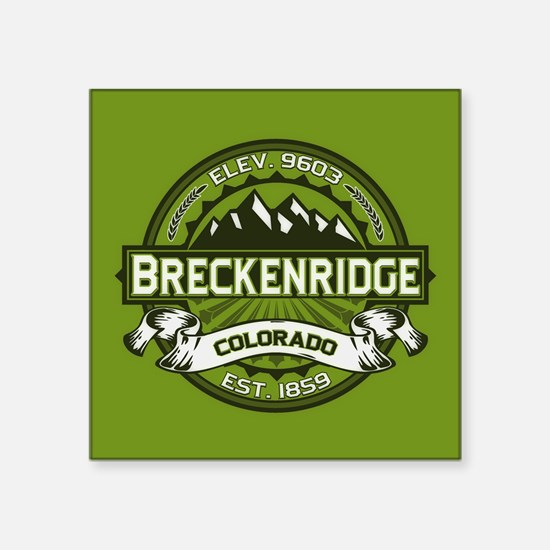 """Breckenridge Green Square Sticker 3"""" x 3"""""""