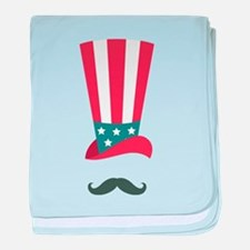 American Hat and Mustache baby blanket