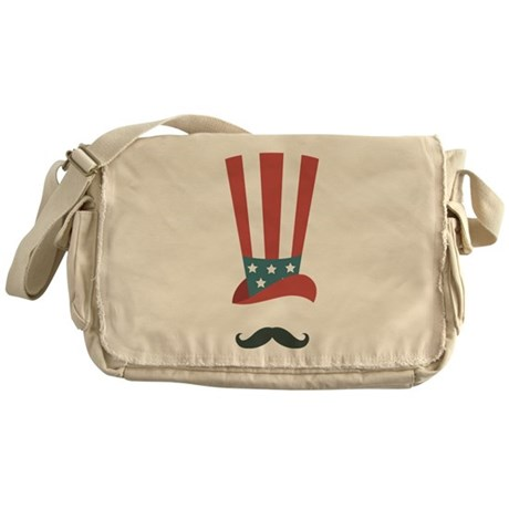 American Hat and Mustache Messenger Bag