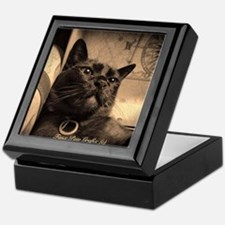 Box Cat, sepia 4 Keepsake Box