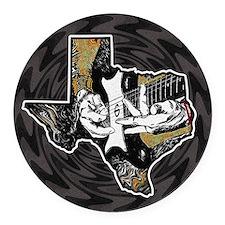 Texas Guitar Round Car Magnet