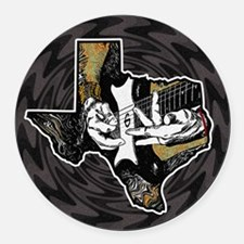 Texas Guitar Round Car Magnet