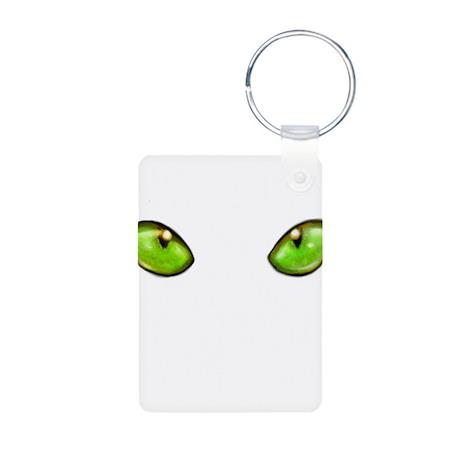 cat eye green Aluminum Photo Keychain