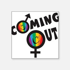 "Coming Out GLBT Square Sticker 3"" x 3"""