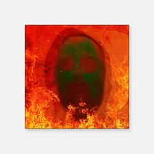 "Face in Fire Square Sticker 3"" x 3"""