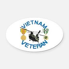 Chinook Vietnam Veteran Oval Car Magnet