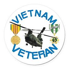 Chinook Vietnam Veteran Round Car Magnet