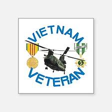 "Chinook Vietnam Veteran Square Sticker 3"" x 3"