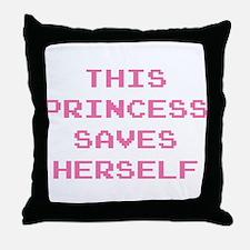 This Princess Saves Herself Throw Pillow