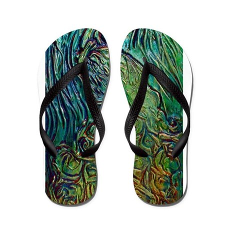 Blue and Green Peacock Flip Flops