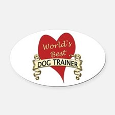 Cute Dog trainer Oval Car Magnet