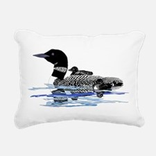 Loon with babies Rectangular Canvas Pillow