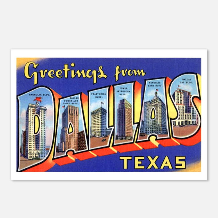 Dallas Texas Greetings Postcards (Package of 8)