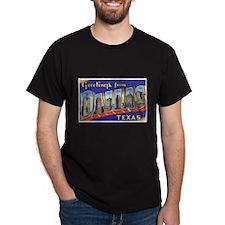 Dallas Texas Greetings (Front) Black T-Shirt