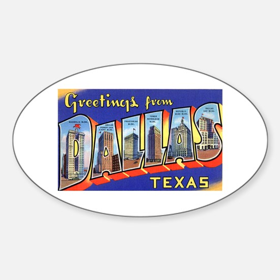 Dallas Texas Greetings Oval Decal