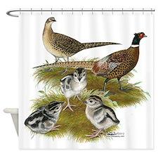 Pheasant Family Shower Curtain