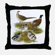 Pheasant Family Throw Pillow