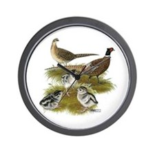 Pheasant Family Wall Clock