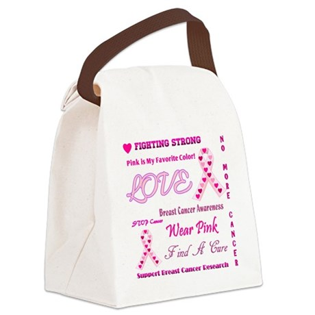 Breast Cancer Collage Canvas Lunch Bag