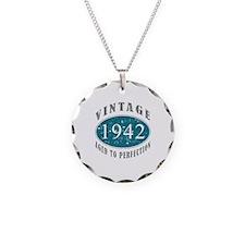 1942 Vintage Blue Necklace Circle Charm