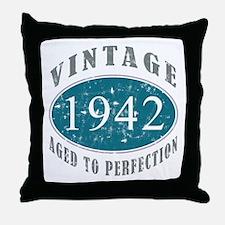 1942 Vintage Blue Throw Pillow