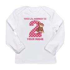 2nd Birthday Monkey Girl Long Sleeve Infant T-Shir