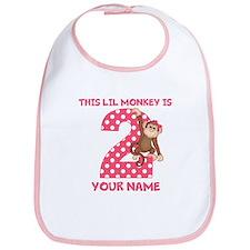 2nd Birthday Monkey Girl Bib