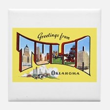 Tulsa Oklahoma Greetings Tile Coaster
