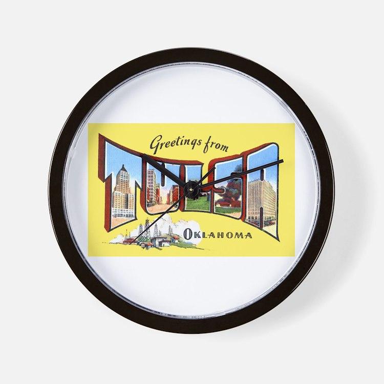Tulsa Oklahoma Greetings Wall Clock