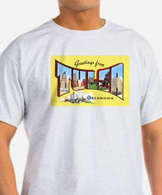 Tulsa Oklahoma Greetings (Front) Ash Grey T-Shirt