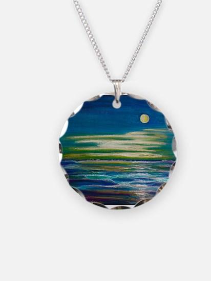 Moonlit Tide Necklace Circle Charm